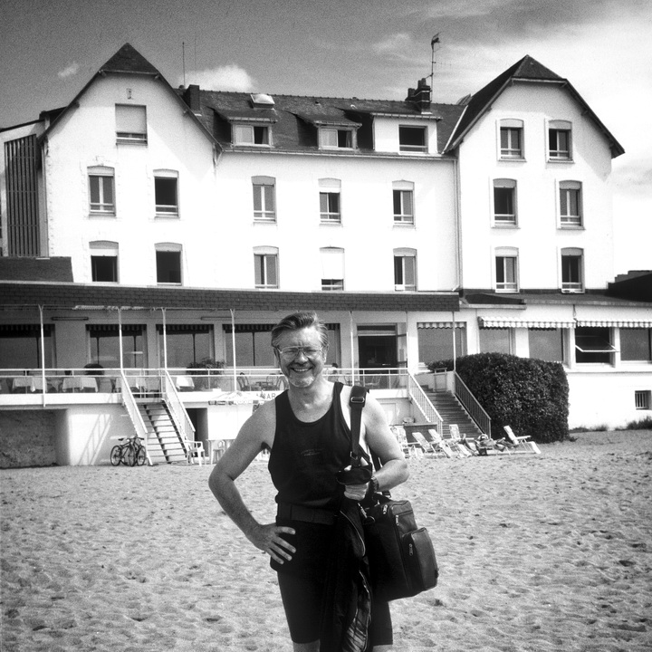 1993 and the author standing in front of Hotel de la Plage, Saint Marc sur Mer
